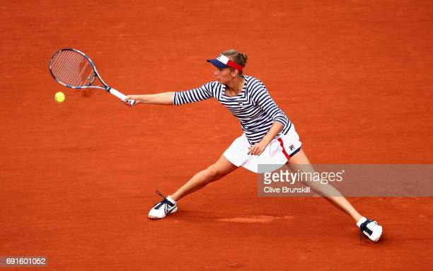Elise Mertens of Belgium plays a forehand during ladies singles third round match against Venus Williams of The United States on day six of the 2017...