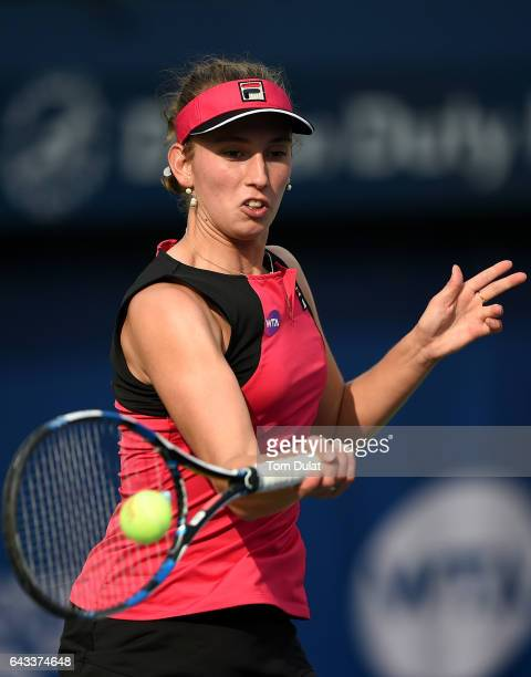 Elise Mertens of Belgium plays forehand against Agnieszka Radwanska of Poland during day three of the WTA Dubai Duty Free Tennis Championship at the...