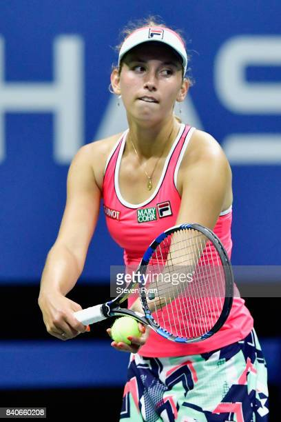 Elise Mertens of Belgium prepares to serve to Madison Keys of the United States on Day Two of the 2017 US Open at the USTA Billie Jean King National...