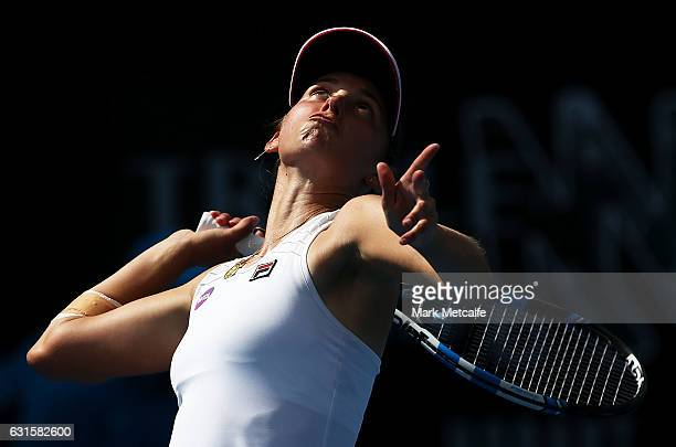 Elise Mertens of Belgium serves in her semi final match against Jana Fett of Croatia during the 2017 Hobart International at Domain Tennis Centre on...