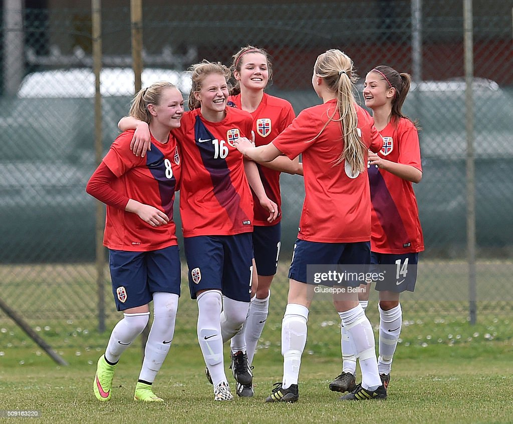 Elise Stenevik of Norway celebrates after scoring the goal 0-2 during the Women's U17 international friendly match between Italy and Norway on February 9, 2016 in Cervia, Italy.