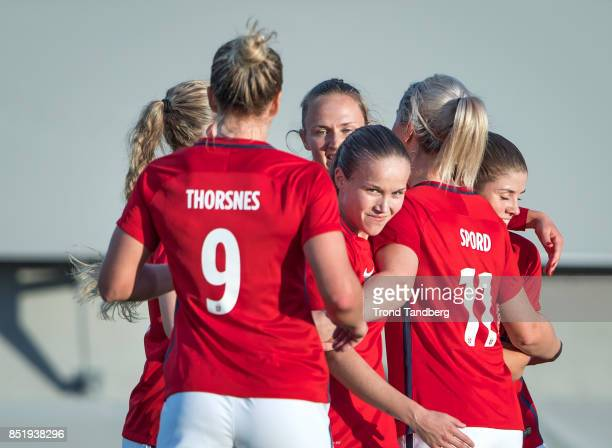 Elise Thorsnes Guro Reiten Ingrid Marie Spord Maren Mjelde of Norway during the FIFA 2018 World Cup Qualifier between Norway and Slovakia at...