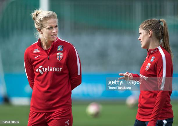 Elise Thorsnes Maren Mjelde of Norway during training session before FIFA 2018 World Cup Qualifier between Norway v Slovakia at Sarpsborg Stadion on...