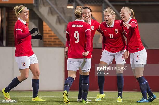 Elise Thrones of Norway Isabell Herlovsen of Norway Ingvild Stensland of Norway Ada Hegerberg of Norway Marita Skammelsrud Lund of Norway during the...