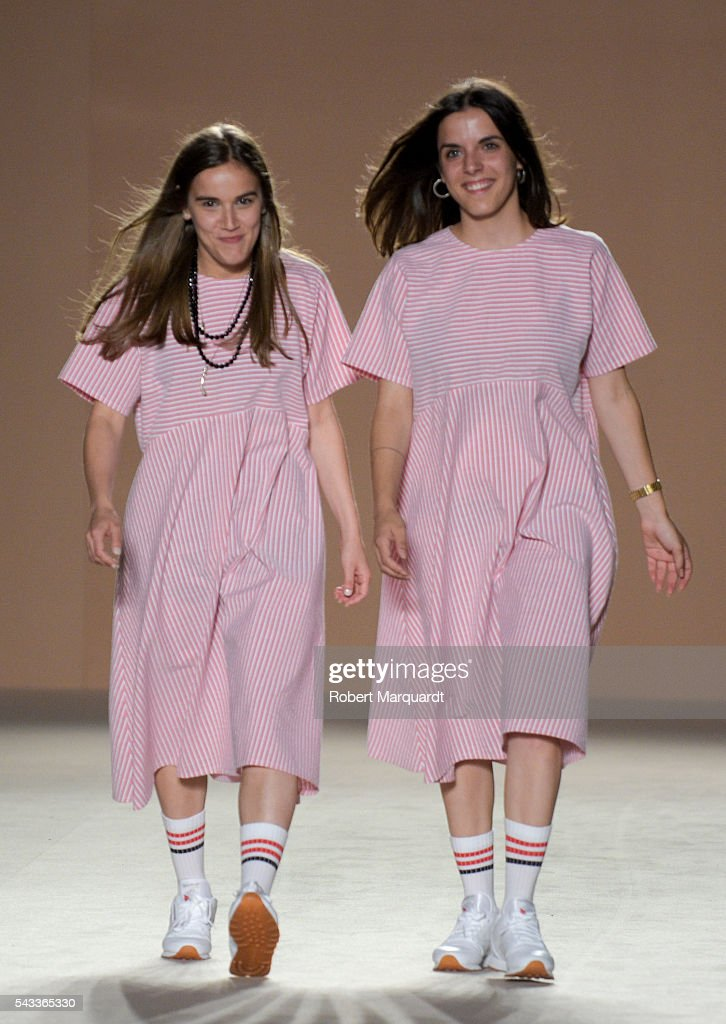 Elisenda Oms (L) and Elisabet Carlota (R) of Carlotaoms show during the Barcelona 080 Fashion Week Spring/Summer 2017 at the INFEC on June 27, 2016 in Barcelona, Spain.