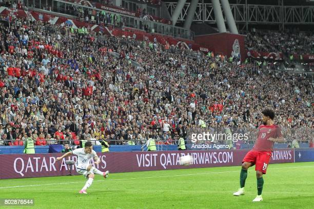 Eliseu of Portugal in action against Charles Aranguiz of Chile during the FIFA Confederations Cup 2017 Semifinal soccer match between Portugal and...