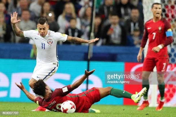 Eliseu of Portugal in action against Eduardo Vargas of Chile during the FIFA Confederations Cup 2017 Semifinal soccer match between Portugal and...