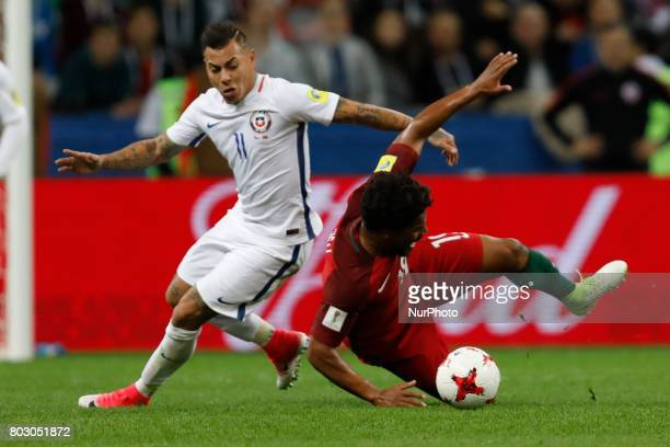 Eliseu of Portugal national team and Eduardo Vargas of Chile national team vie for the ball during FIFA Confederations Cup Russia 2017 semifinal...