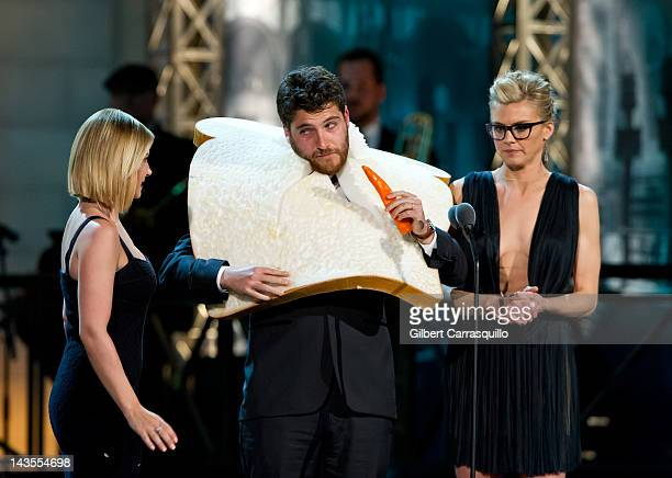 Elisha Cuthbert Adam Pally and Eliza Coupe onstage at The Comedy Awards 2012 at Hammerstein Ballroom on April 28 2012 in New York City