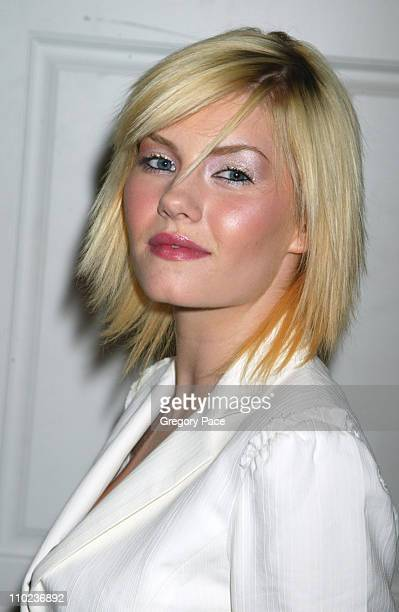 Elisha Cuthbert during Olympus Fashion Week Fall 2005 Luca Luca Backstage and Front Row at Bryant Park Tents in New York City New York United States