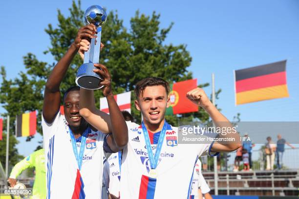 Elisha Owusu of Olympique Lyon celebrates with his team mate Amine Gouri winning the Finale for the Blue Stars/FIFA Youth Cup 2017 between Olympique...
