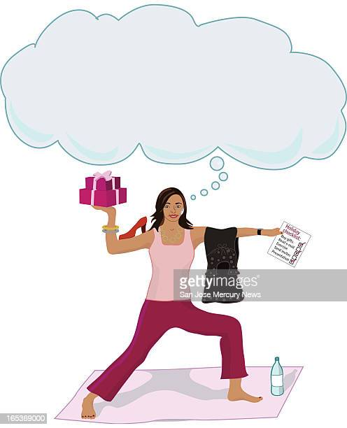 Elisheva Marcus color illustration of woman balancing in a yoga pose while holding holiday packages clothing and todo list