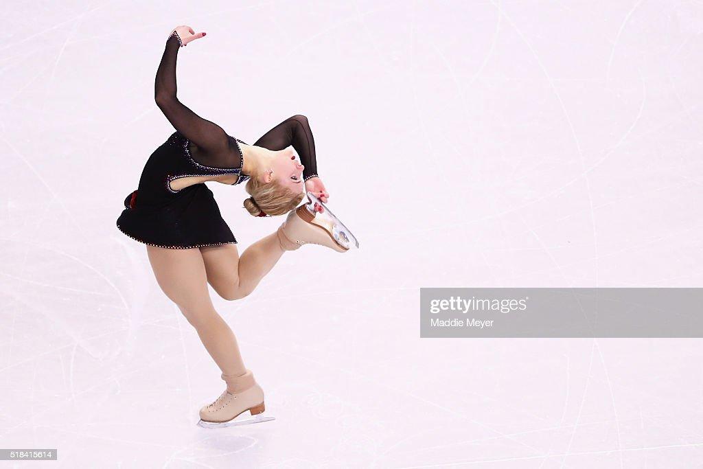 Eliska Brezinova of Czech Republic skates in the Ladies Short Program during Day 4 of the ISU World Figure Skating Championships 2016 at TD Garden on...