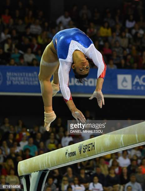 Elissa Downie of Great Britain performs on the balance beam apparatus final for the European Artistic Gymnastics Championship in Cluj Napoca Romania...