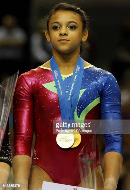 Elissa Downie winner of the Golf and Silver Medal in the WAG Junior Apparatus Final on Uneven Bars and Vault during the British Championships at the...