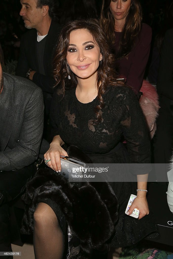 <a gi-track='captionPersonalityLinkClicked' href=/galleries/search?phrase=Elissa&family=editorial&specificpeople=641088 ng-click='$event.stopPropagation()'>Elissa</a> Khoury attend the Elie Saab show as part of Paris Fashion Week Haute Couture Spring/Summer 2015 on January 28, 2015 in Paris, France.