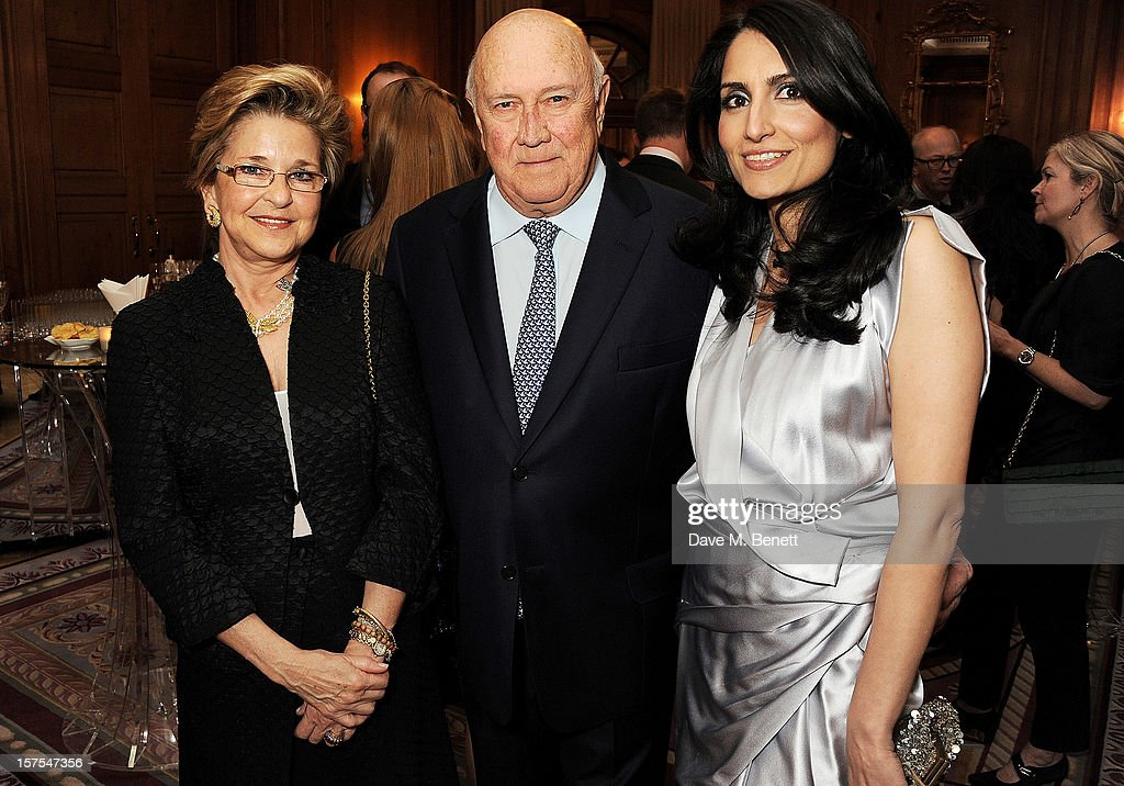 Elita Georgiades, former South African President <a gi-track='captionPersonalityLinkClicked' href=/galleries/search?phrase=F.W.+de+Klerk&family=editorial&specificpeople=228077 ng-click='$event.stopPropagation()'>F.W. de Klerk</a> and Renu Mehta, Founder of Fortune Forum, attend a cocktail reception at the 4th Fortune Forum Summit held at The Dorchester on December 4, 2012 in London, England.