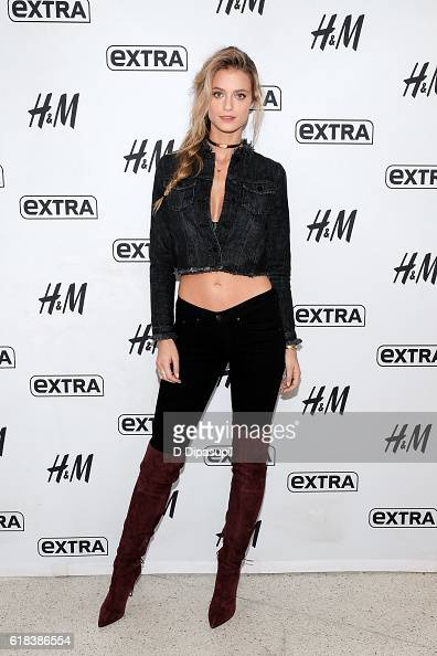 Elite Ambassador Kate Bock visits 'Extra' at their New York studios at HM in Times Square on October 26 2016 in New York City