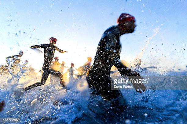 Elite men enter the water during Ironman 703 on May 17 2015 in Barcelona Spain