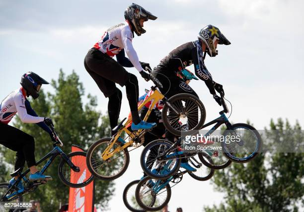 Elite Men fly over the first straight at the USA BMX Mile High Nationals PreRace on August 4 at Grand Valley BMX in Grand Junction CO