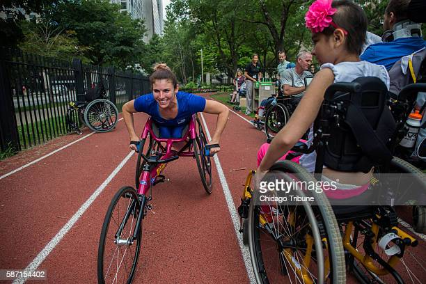 Elite wheelchair athlete Amanda McGrory shows Rehab Institute of Chicago patients what they can achieve postinjury McGrory talks about racing with...