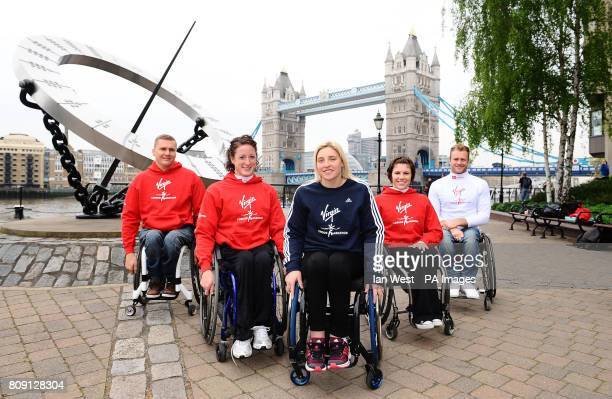 Elite Wheelchair athletes David Weir Tatyana McFadden Shelly Woods Amanda McGrory and Josh Cassidy during the Virgin London Marathon photocall at the...