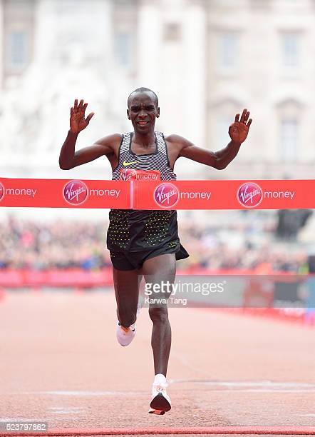 Eliud Kipchoge crosses the finish line to win the Mens Virgin London Marathon 2016 on April 24 2016 in London England