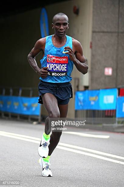 Eliud Kipchoge of Kenya competes during the Virgin Money London Marathon on April 26 2015 in London England