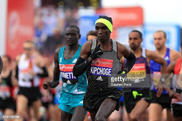 Eliud Kipchoge of Kenya starts during the Virgin Money London Marathon on April 24 2016 in London England