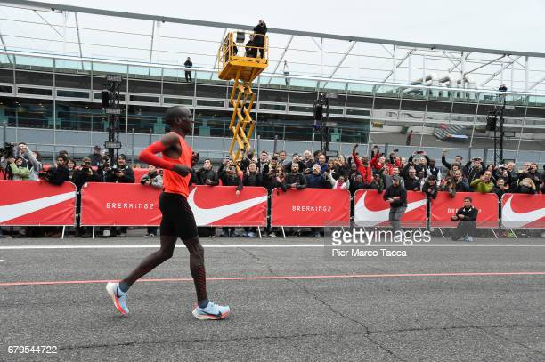 Eliud Kipchoge reacts at the end of the Nike Breaking2 SubTwo Marathon Attempt at Autodromo di Monza on May 6 2017 in Monza Italy