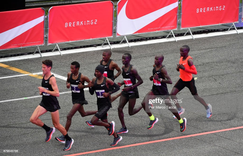Eliud Kipchoge runs during the Nike Breaking2: Sub-Two Marathon Attempt at Autodromo di Monza on May 6, 2017 in Monza, Italy.