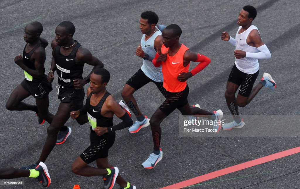 Eliud Kipchoge Zersenay Tadese and Lelisa Desisa run during the Nike Breaking2: Sub-Two Marathon Attempt at Autodromo di Monza on May 6, 2017 in Monza, Italy.