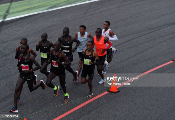 Eliud Kipchoge Zersenay Tadese and Lelisa Desisa run during the Nike Breaking2 SubTwo Marathon Attempt at Autodromo di Monza on May 6 2017 in Monza...