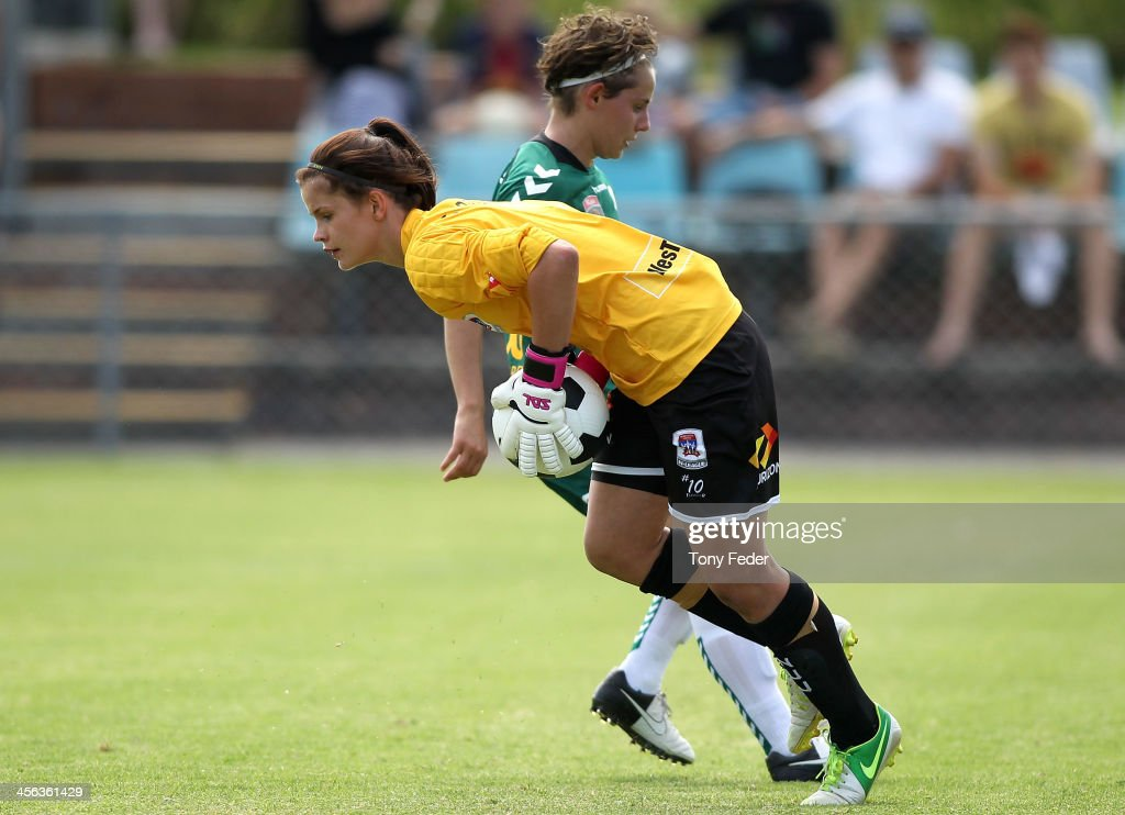 Eliza Campbell of the Jets saves a goal during the round five W-League match between the Newcastle Jets and Canberra United at Wanderers Oval on December 14, 2013 in Newcastle, Australia.