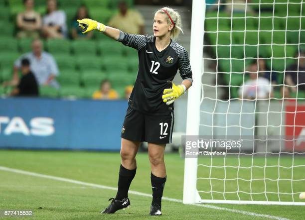 Eliza Campbell of the Matildas gestures during the Women's International match between the Australian Matildas and China PR at AAMI Park on November...