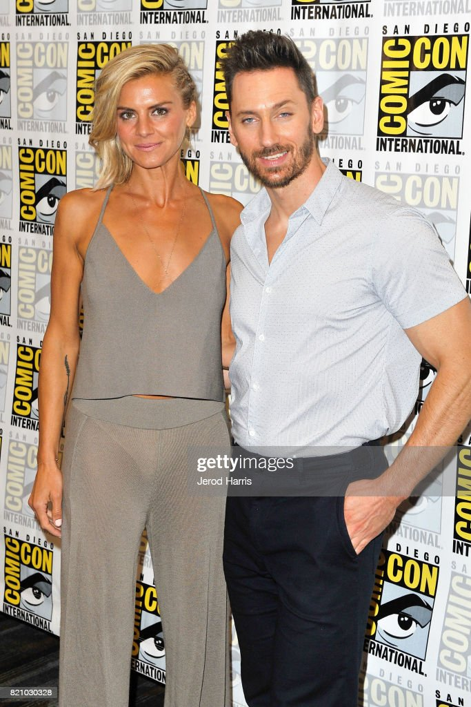 Eliza Coupe and Derek Wilson attend 'Futureman' press line at Comic Con 2017 - Day 3 on July 22, 2017 in San Diego, California.