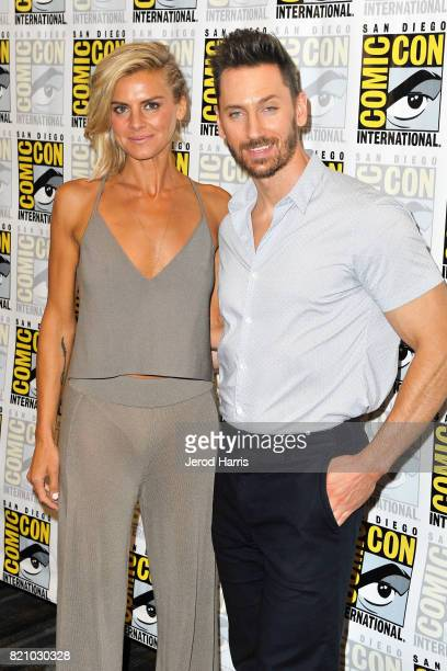 Eliza Coupe and Derek Wilson attend 'Futureman' press line at Comic Con 2017 Day 3 on July 22 2017 in San Diego California