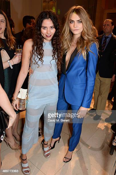 Eliza Doolittle and Cara Delevingne attend the Mulberry dinner to celebrate the launch of the Cara Delevingne Collection at Claridge's Hotel on...