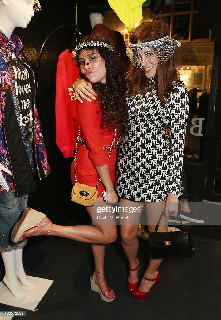 Eliza Doolittle and <a gi-track='captionPersonalityLinkClicked' href=/galleries/search?phrase=Pixie+Lott&family=editorial&specificpeople=5591168 ng-click='$event.stopPropagation()'>Pixie Lott</a> attend the party hosted by Browns Focus & Designer Brian Lichtenberg to officially launch the NEW Browns Focus at 24 South Molton Street on September 14, 2013 in London, United Kingdom.