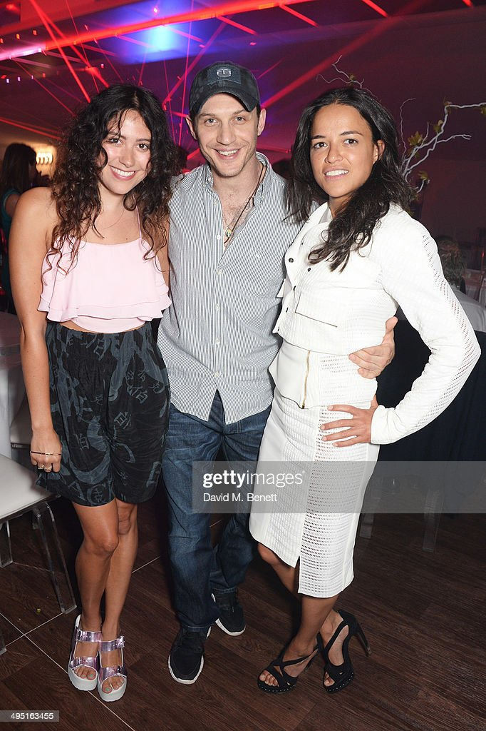 Eliza Doolittle, Tom Hardy and Michelle Rodriguez attend day two of the Audi Polo Challenge at Coworth Park Polo Club on June 1, 2014 in Ascot, England.