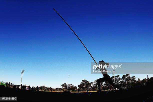 Eliza McCartney competes in the Women's Pole Vault final during the Auckland Track Challenge at The Trusts Arena on February 25 2016 in Auckland New...