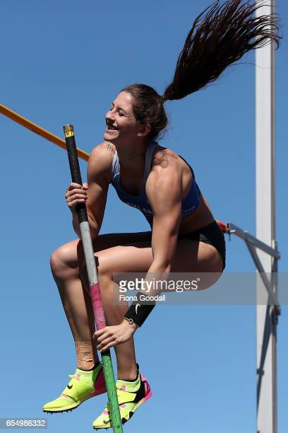Eliza McCartney of Auckland competes in the women's Pole Vault during the New Zealand Track Field Championships at Porritt Stadium on March 19 2017...