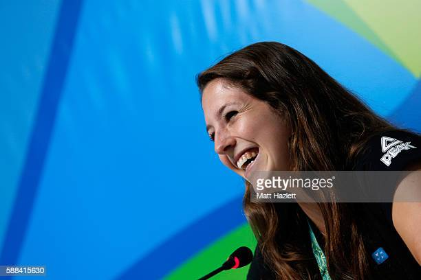 Eliza McCartney of New Zealand attends a press conference in the Main Press Center on Day6 of the Rio 2016 Olympic Games on August 11 2016 in Rio de...