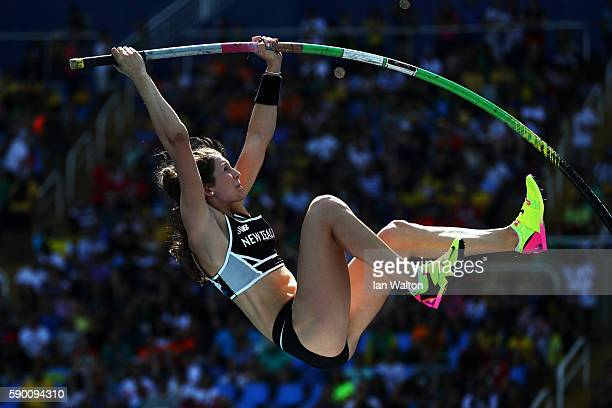 Eliza Mccartney of New Zealand competes during the Women's Pole Vault Qualifying Round Group A on Day 11 of the Rio 2016 Olympic Games at the Olympic...