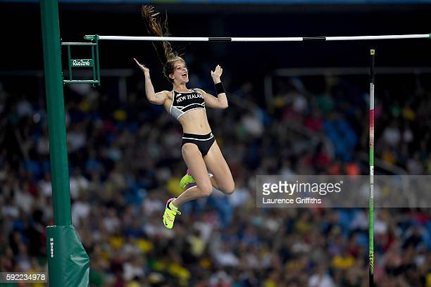 Eliza Mccartney of New Zealand competes in the Women's Pole Vault Final on Day 14 of the Rio 2016 Olympic Games at the Olympic Stadium on August 19...