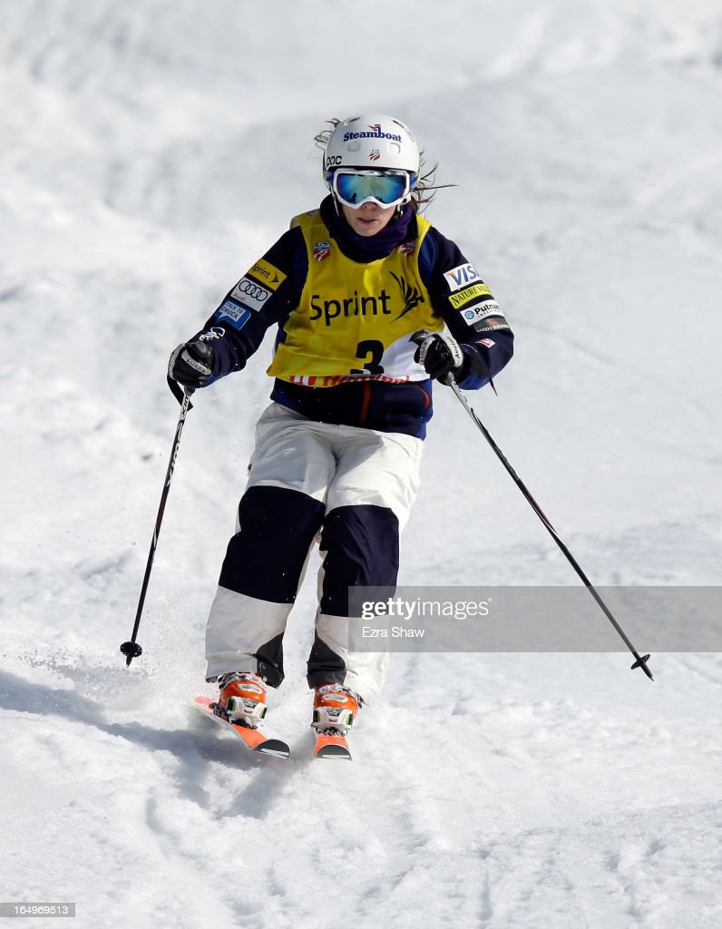 Eliza Outtrim competes in the Ladie's Moguls final at the U.S. Freestyle Moguls National Championship at Heavenly Resort on March 29, 2013 in South Lake Tahoe, California. Outtrim finished in third place.