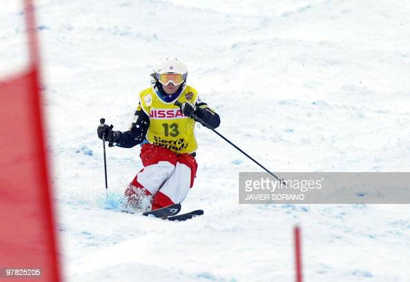 US Eliza Outtrim competes women's Freestyle skiing World Cup Moguls at Sierra Nevada Ski resort on March 18 2010 US Eliza Outtrim won the race ahead...