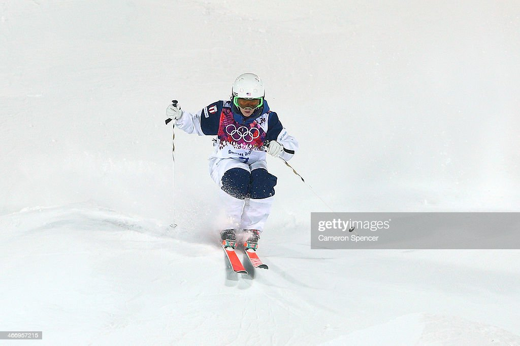 Eliza Outtrim of the United States trains during moguls practice at the Extreme Park at Rosa Khutor Mountain ahead of the Sochi 2014 Winter Olympics on February 5, 2014 in Sochi, Russia