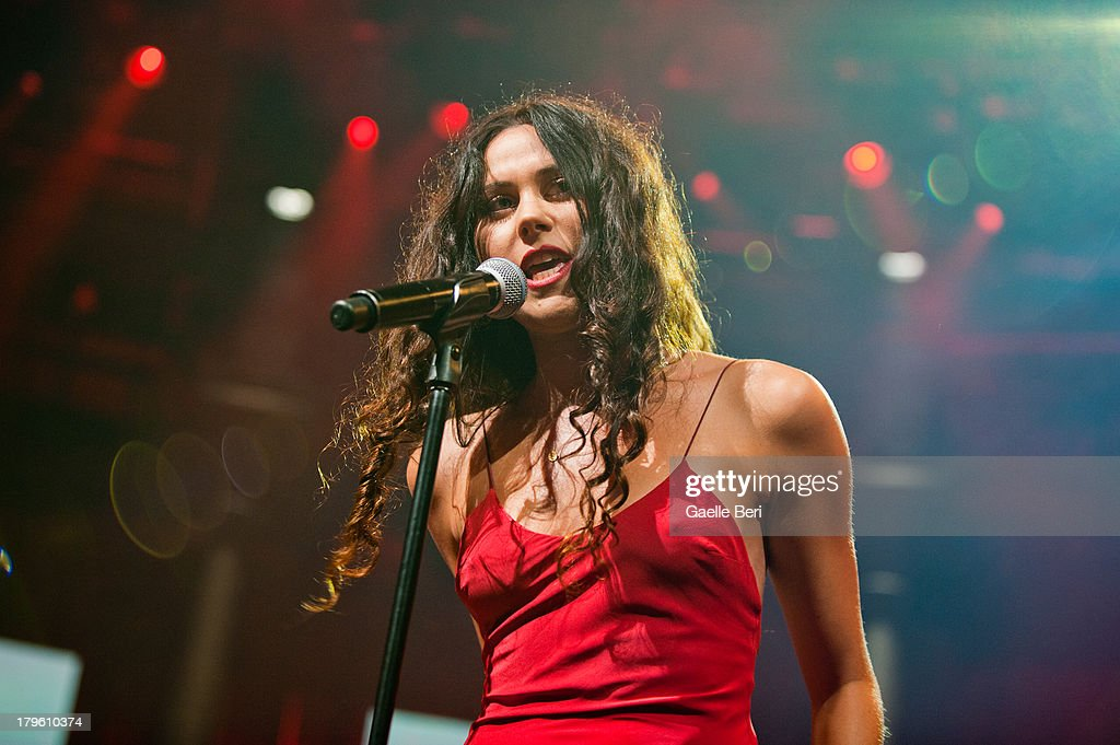 Eliza Sophie Caird of <a gi-track='captionPersonalityLinkClicked' href=/galleries/search?phrase=Eliza+Doolittle+-+Singer&family=editorial&specificpeople=7023843 ng-click='$event.stopPropagation()'>Eliza Doolittle</a> performs on stage on Day 5 of iTunes Festival 2013 at The Roundhouse on September 5, 2013 in London, England.