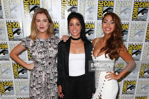 Eliza Taylor Marie Avgeropoulos and Lindsey Morgan attend 'The 100' press line at ComicCon International 2017 on July 21 2017 in San Diego California